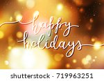 happy holidays lettering ... | Shutterstock .eps vector #719963251