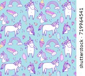seamless pattern with unicorns  ... | Shutterstock .eps vector #719964541