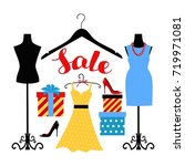 illustration of a dress on a... | Shutterstock . vector #719971081