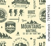 hiking seamless pattern or... | Shutterstock .eps vector #719974351