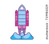 spaceship travel science... | Shutterstock .eps vector #719981029