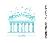 pantheon  rome  italy  vector... | Shutterstock .eps vector #719990191