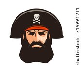 pirate logo or label. portrait... | Shutterstock .eps vector #719991211