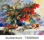 still life with a mountain ash... | Shutterstock . vector #72000064
