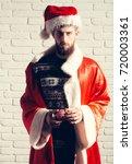 christmas man with long beard....   Shutterstock . vector #720003361