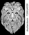 coloring book lion outline | Shutterstock .eps vector #720014959