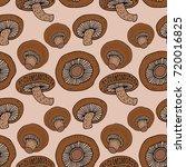 hand drawing shiitake seamless... | Shutterstock .eps vector #720016825