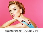 beauty on pink and blue | Shutterstock . vector #72001744