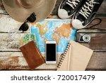 traveler items vacation travel... | Shutterstock . vector #720017479