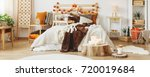 autumn style in cozy bedroom... | Shutterstock . vector #720019684