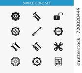 set of 12 editable mechanic... | Shutterstock .eps vector #720020449
