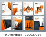 cover design set. orange... | Shutterstock .eps vector #720027799