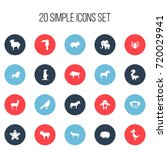 set of 20 editable animal icons.... | Shutterstock .eps vector #720029941