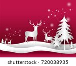 paper art style new year xmas...   Shutterstock .eps vector #720038935