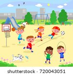 boys and girls playing sports... | Shutterstock .eps vector #720043051
