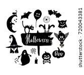set of  hand drawn halloween...   Shutterstock .eps vector #720043381