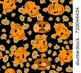 seamless pattern with pumpkin... | Shutterstock .eps vector #720044434