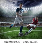 football scene with competing... | Shutterstock . vector #720046081