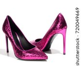 pink shiny high heeled shoes on ... | Shutterstock . vector #720049669