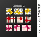 set of 9 gift boxes with bows...   Shutterstock .eps vector #720049759