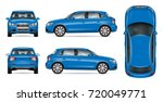 blue suv car vector mock up for ... | Shutterstock .eps vector #720049771