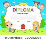 kids diploma certificate... | Shutterstock . vector #720052039