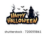 happy halloween text design... | Shutterstock .eps vector #720055861