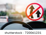 no overtaking warning sign and... | Shutterstock . vector #720061231