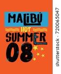 malibu hot summer t shirt print ... | Shutterstock .eps vector #720065047