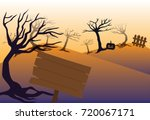 wooden sign on tree hill forest ... | Shutterstock .eps vector #720067171