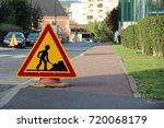 caution   public works on the... | Shutterstock . vector #720068179