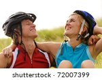 cute couple with cycling...   Shutterstock . vector #72007399