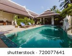 private swimming pool near... | Shutterstock . vector #720077641