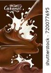 liquid chocolate  caramel or... | Shutterstock .eps vector #720077695