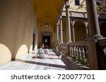 traveller girl sitting on the... | Shutterstock . vector #720077701