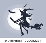 flying young witch on a... | Shutterstock .eps vector #720082234