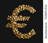 euro sign made of gold nuggets... | Shutterstock . vector #720091531