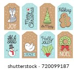 christmas holiday gift tags ... | Shutterstock .eps vector #720099187