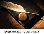 vintage still life. quill pen... | Shutterstock . vector #720104815