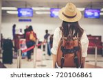 happy woman tourist atin the... | Shutterstock . vector #720106861