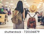 happy woman tourist atin the... | Shutterstock . vector #720106879