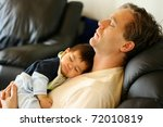 Baby Sleeping On Dad's Chest