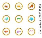 beach wildlife icons set.... | Shutterstock .eps vector #720115159