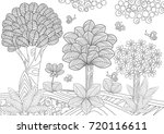 fantasy trees and butterflies... | Shutterstock .eps vector #720116611
