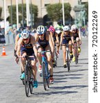 Small photo of STOCKHOLM - AUG 26, 2017: Climbing group of female triathlete cyclists in the Women's ITU World Triathlon series event August 26, 2017 in Stockholm, Sweden
