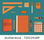 orange stationery on a green... | Shutterstock .eps vector #720124189