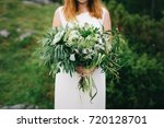 red hair bride with green... | Shutterstock . vector #720128701