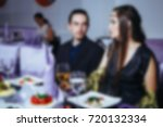 blur people eating and talking... | Shutterstock . vector #720132334