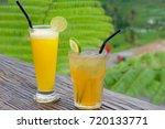 two juice drinks in jatiluwih...   Shutterstock . vector #720133771