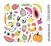 hand drawn set of vegetables... | Shutterstock .eps vector #720134359